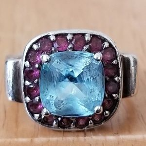 Blue Topaz and Ruby Cable Sterling Silver Ring